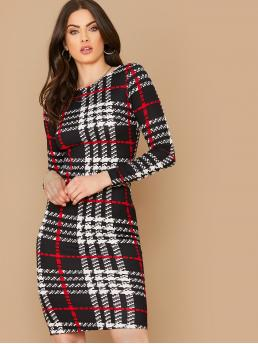 Elegant Fitted Plaid Pencil Slim Fit Round Neck Long Sleeve Regular Sleeve Natural Black and White Midi Length Plaid Print Fitted Dress