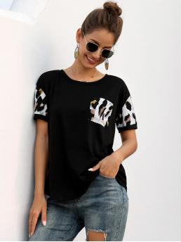 Casual Graphic Regular Fit Round Neck Short Sleeve Regular Sleeve Pullovers Black Regular Length Contrast Graphic Round Neck Tee