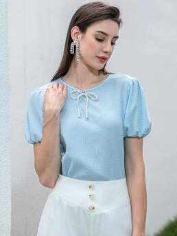 Beautiful Short Sleeve Pearls Polyester Plain Bow Patched Tee