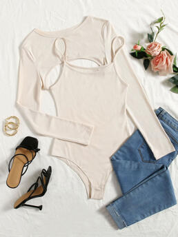 Womens Long Sleeve Polyester Plain Beige Ribbed Knit Super Crop Top & Cami Bodysuit
