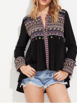 Boho Geometric Regular Fit Long Sleeve Black Regular Length Embroidered Yoke And Cuff Coin Fringe Trim Blouse