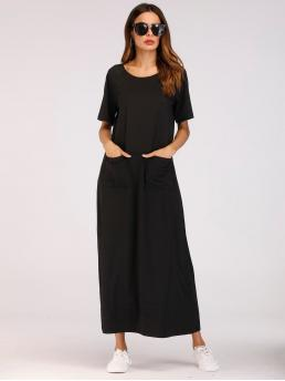 Modest Tunic Plain Straight Loose Round Neck Short Sleeve Natural Black Long Length Dual Pocket Longline Dress