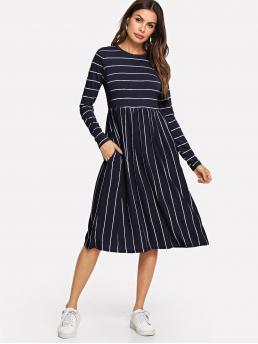 Casual A Line Striped Flared Regular Fit Round Neck Long Sleeve Natural Navy Midi Length Mixed Striped Smock Dress