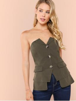 Casual Plain Slit Regular Fit Strapless Sleeveless Placket Army Green Regular Length Button Up Pocket Patched Top