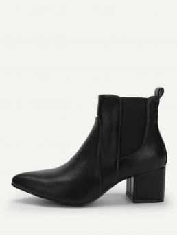 Velvet Black Chelsea Boots Button Pointed Toe Heeled Boots Affordable