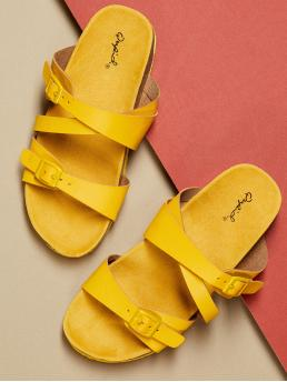 Comfort Open Toe Plain Criss Cross Yellow Thick Sole Double Buckle Slip On Footbed Sandals