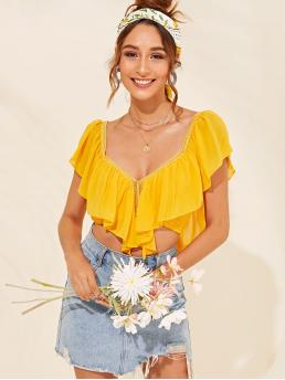 Sexy Plain Slim Fit Sweetheart Sleeveless Pullovers Yellow Crop Length Lace Insert Flounce Trim Shirred Crop Top