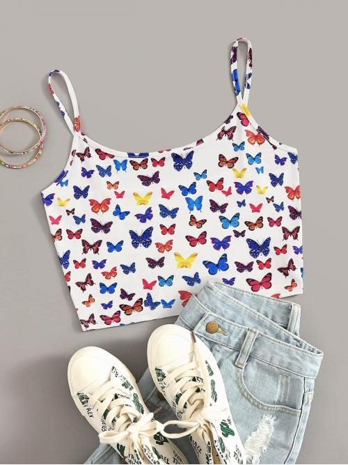 Casual Cami Animal Regular Fit Spaghetti Strap Multicolor Crop Length Allover Butterfly Print Crop Cami Top