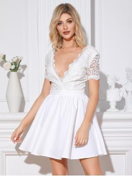 Romantic A Line Plain Flared Regular Fit Deep V Neck Short Sleeve Regular Sleeve High Waist White Short Length Double Crazy Double V Neck Lace A-line Dress with Lining