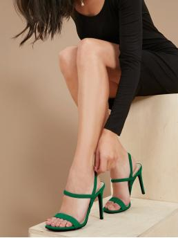 Glamorous Open Toe Plain Green High Heel Stiletto Stretchy Multi Strap Stiletto Heel Sandals