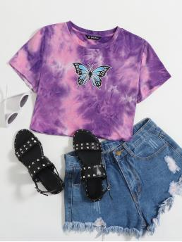 Casual Animal and Tie Dye Slim Fit Round Neck Short Sleeve Regular Sleeve Pullovers Purple Crop Length Butterfly Print Tie Dye Tee