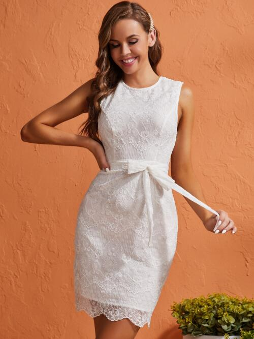 Shopping White Plain Bow Front Round Neck Embroidery Detail Bow Backless Dress