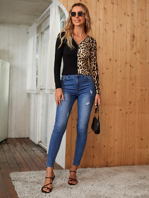 Fashion Long Sleeve Zipper Polyester Leopard Zip Front Slim Fit Tee