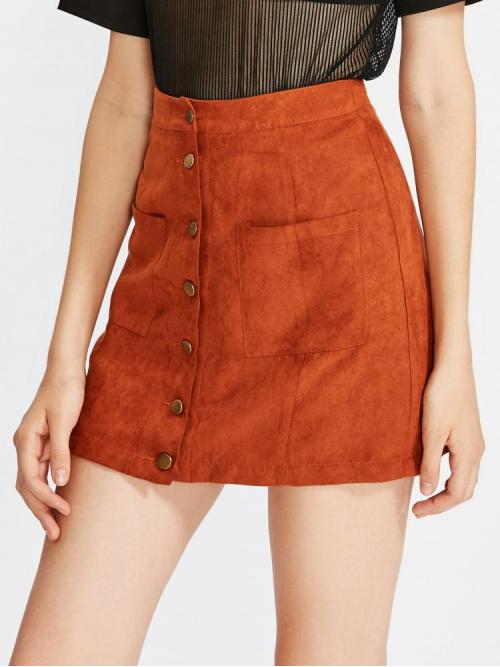 Trending now Red Natural Waist Button a Line Patch Pocket up Utility