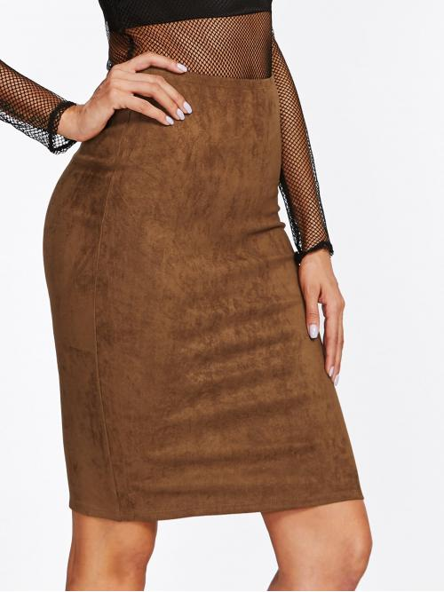 Brown Natural Waist Wrap Bodycon Slit Back Suede on Sale