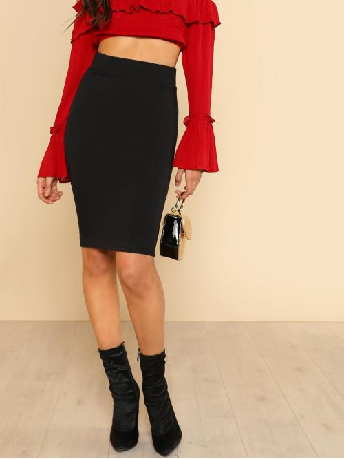 Black High Waist Bodycon Plain Solid Pencil Skirt on Sale