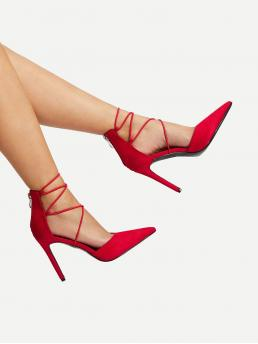 Glamorous Point Toe Plain Red High Heel Stiletto Lace Up High Heels