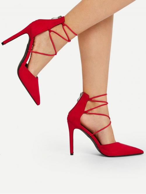 Red Court Pumps Zipper High Heel New Year Lace Ups Ladies