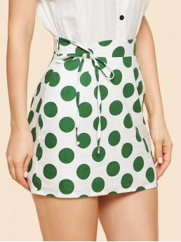 Casual Knot and Zipper Polka Dot Shift Mid Waist Multicolor Above Knee/Short Length Knot Front Polka Dot Print Skirt