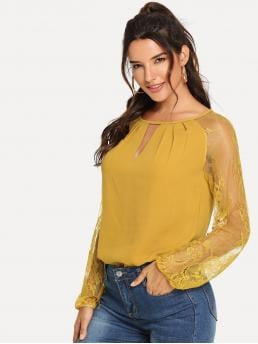 Elegant Plain Top Regular Fit Round Neck Long Sleeve Pullovers Yellow Regular Length Lace Raglan Sleeve Keyhole Blouse