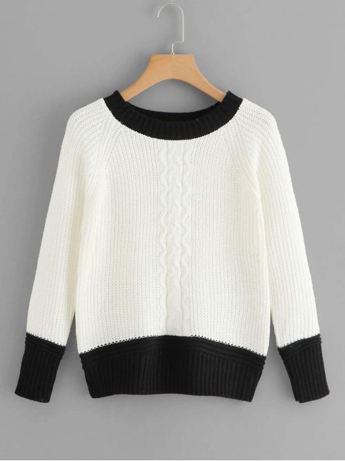 Discount Long Sleeve Pullovers Lace up Tweed Contrast Panel Sweater