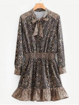 Casual A Line Leopard Flounce Regular Fit Long Sleeve Natural Multicolor Short Length Tie Neck Leopard Print Ruffle Hem Dress