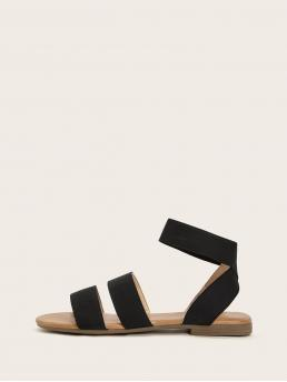 Comfort Open Toe Plain Black Strappy Ankle Strap Sandals