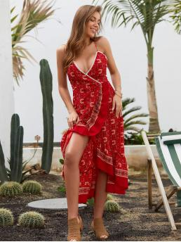 Boho Cami Ditsy Floral Wrap Regular Fit Spaghetti Strap Sleeveless High Waist Red Long Length Ditsy Floral Print Flounce Trim Cami Wrap Dress