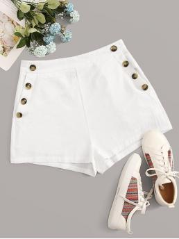 Casual Plain Straight Leg Regular Zipper Fly Mid Waist White Buttoned Front Slant Pocket Shorts