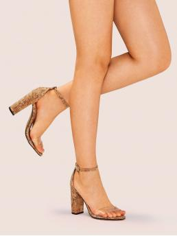 Glamorous Ankle Strap Brown High Heel Chunky Open Toe Ankle Strap Cork Heels
