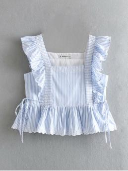 Boho Striped Slim Fit Square Neck Sleeveless Pullovers Blue Crop Length Embroidery Detail Stripe Peplum Blouse