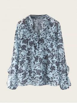 Casual Ditsy Floral Top Regular Fit Notched Long Sleeve Regular Sleeve Pullovers Blue Regular Length Notched Neck Ditsy Floral Print Blouse
