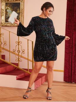 Glamorous Fitted Regular Fit Round Neck Long Sleeve Regular Sleeve Natural Black Short Length Plus Fitted Sequin Dress