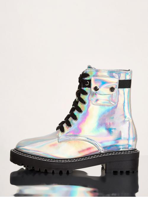 Comfort Combat Boots Round Toe No zipper Multicolor Holographic Lace Up Lug Sole Boots