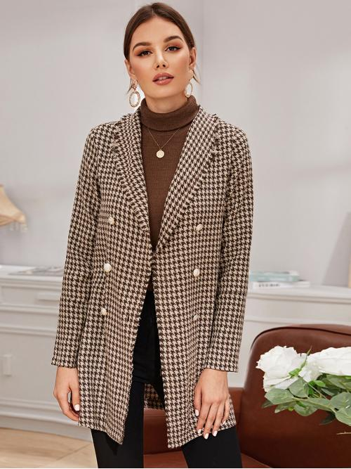 Elegant Pea Coat Houndstooth Regular Fit Collar Long Sleeve Regular Sleeve Double Breasted Brown Short Length Double Button Houndstooth Pea Coat