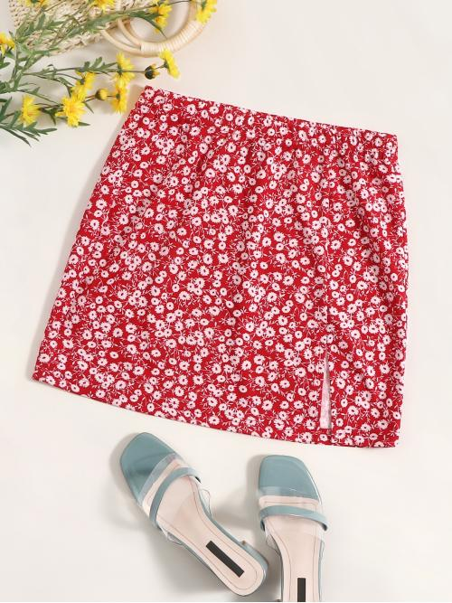 Casual A Line Ditsy Floral Mid Waist Red Mini Length Split Hem Ditsy Floral Skirt