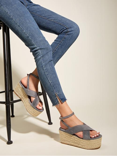 Polyester Grey Tank Pearls Criss Cross Espadrille Wedges Shopping