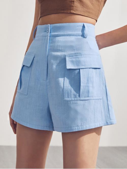 Beautiful Baby Blue High Waist Zipper Wide Leg Flap Pocket Shorts