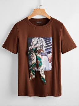 Clearance Short Sleeve Cotton Chain Print Coffee Brown Bow Front Tee