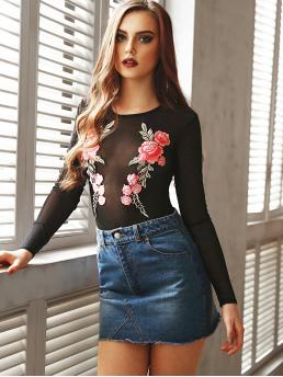 Womens Long Sleeve Peplum Appliques Polyester Embroidered Sheer Mesh Bodysuit