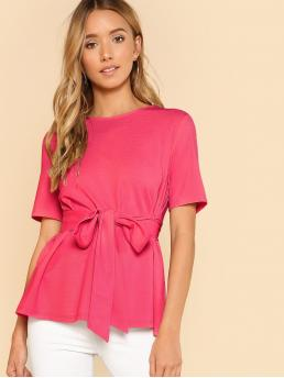 Affordable Short Sleeve Top Knot Polyester Neon Self Belt Keyhole Back Solid Top