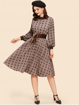 Trending now Multicolor Plaid Belted Round Neck Dress