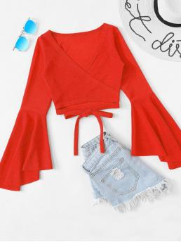 Casual Plain Top Regular Fit V neck Long Sleeve Pullovers Red and Bright Crop Length Tie Front Flounce Sleeve Wrap Top