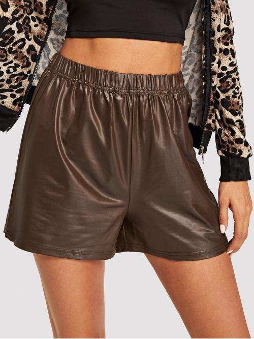 Shopping Brown Natural Waist Drawstring Straight Leg Faux Leather Shorts