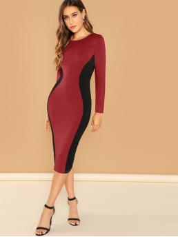 Elegant Bodycon Plain and Colorblock Slim Fit Round Neck Long Sleeve Regular Sleeve Natural Burgundy Midi Length Contrast Panel Bodycon Pencil Dress