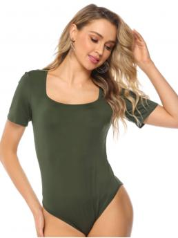 Basics Tee Plain Regular Square Neck Short Sleeve Mid Waist Army Green Solid Square Neck Bodysuit