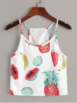 Casual Cami Fruit&Vegetable Regular Fit Spaghetti Strap Multicolor Crop Length Fruits Print Cami Top