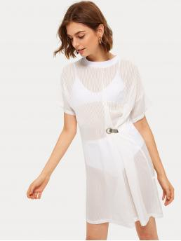 Sporty Tee Plain Straight Round Neck Short Sleeve Natural White Short Length Striped Buckle Detail Sheer Dress