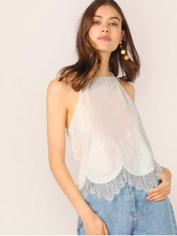 Casual Halter Plain Asymmetrical Regular Fit Halter Top White Regular Length Scallop Lace Trim Halter Cami Tank Top with Lining