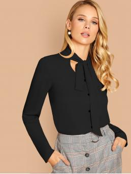 Elegant Plain Top Regular Fit Stand Collar and Keyhole Neckline Long Sleeve Regular Sleeve Pullovers Black Regular Length Peekaboo Tie Neck Button Front Top